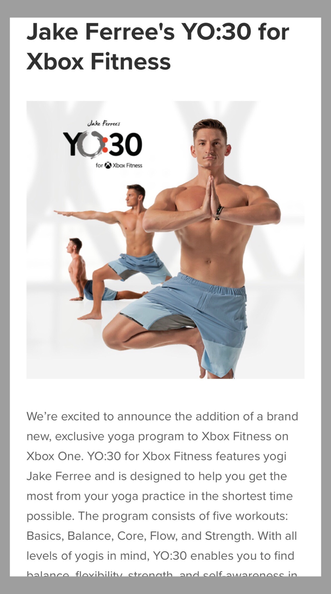 CREATOR OF YO:30 YOGA PROGRAM FOR XBOX FITNESS