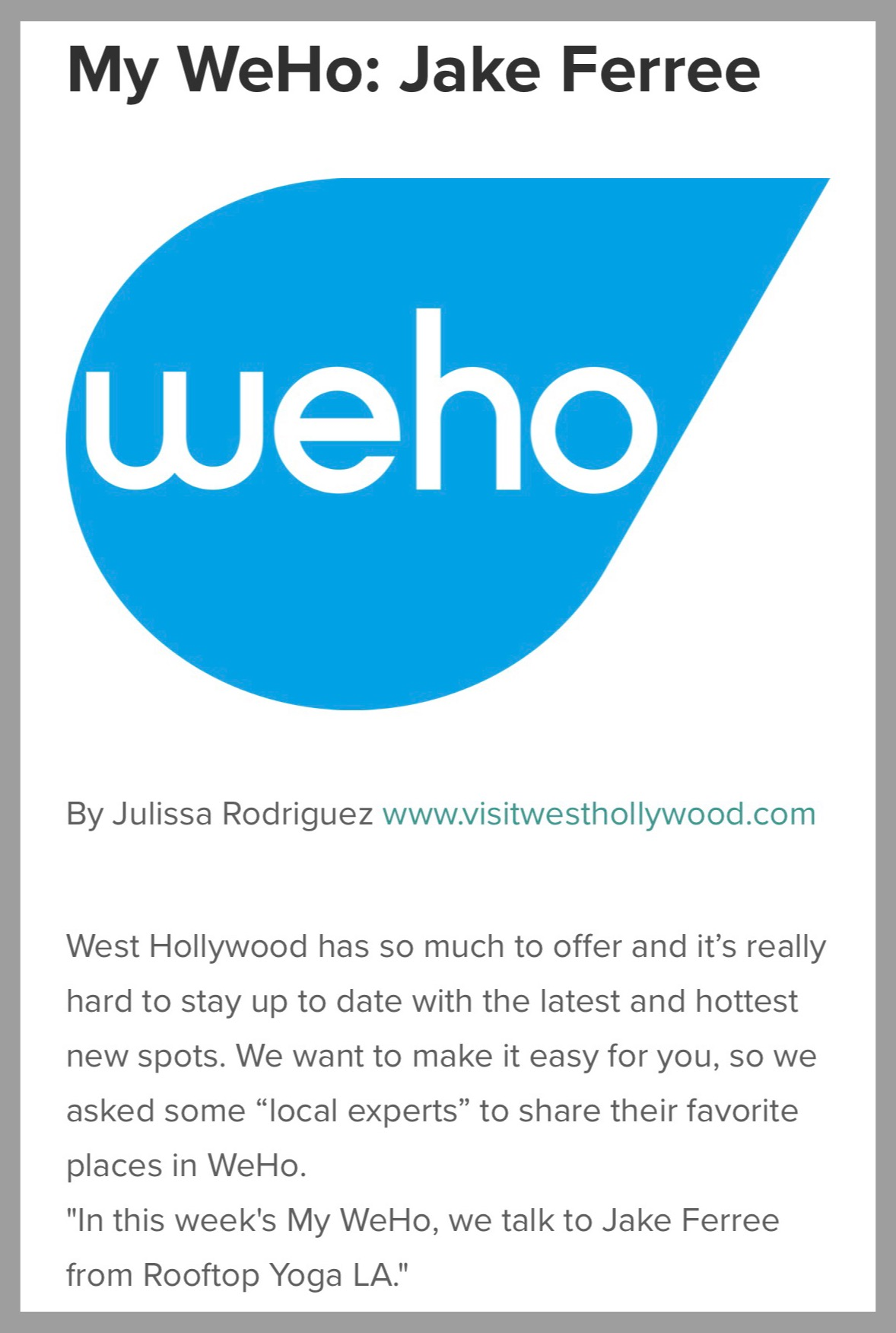 VISIT WEST HOLLYWOOD ARTICLE