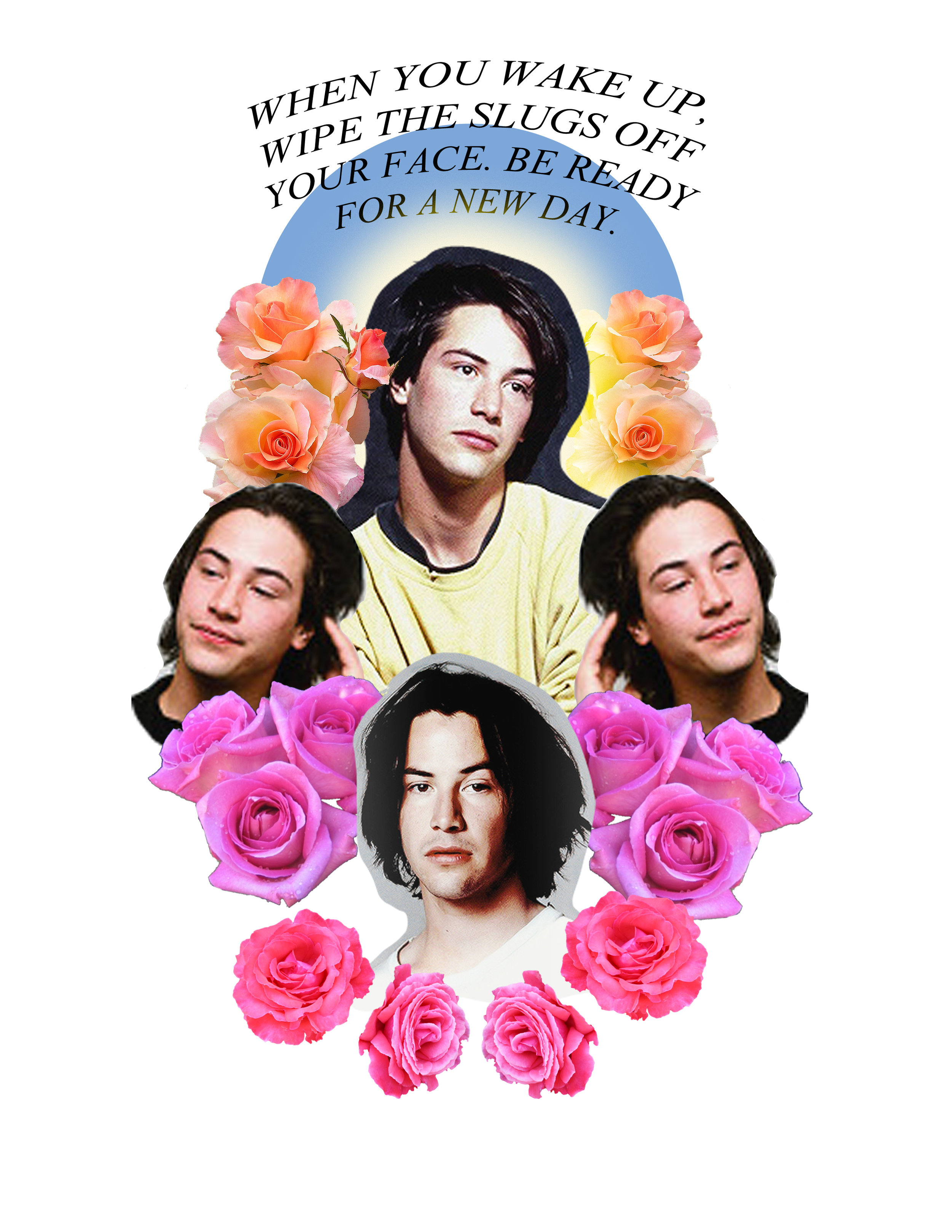 Saint Keanu collage with quote from My Own Private Idaho