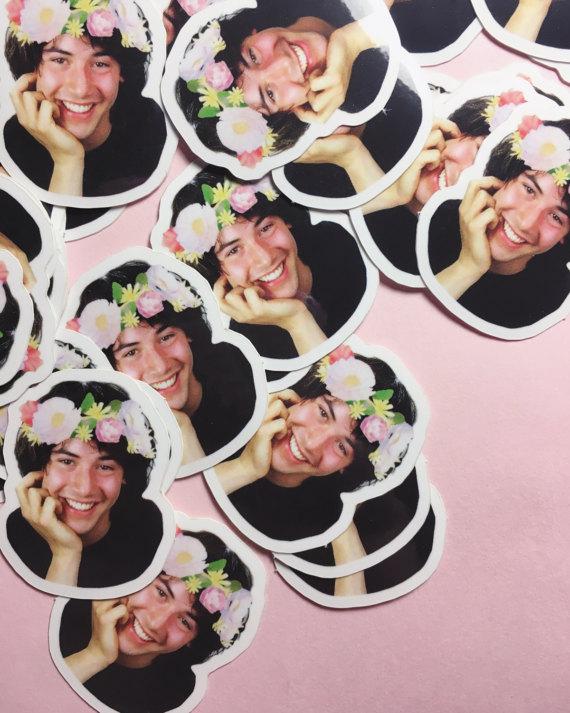Flower Crown Keanu Sticker set
