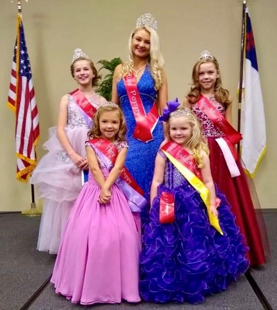 2018 Winners: Front (L-R): Miss Tiny Poppy: Ella Cate Chandler, Miss Toddler Poppy: Lily Abbott  Miss Jr. Poppy: Arwen Burrows, Miss Poppy: Rachel Moore, Miss Petite Poppy: Jessie Lyn Kester