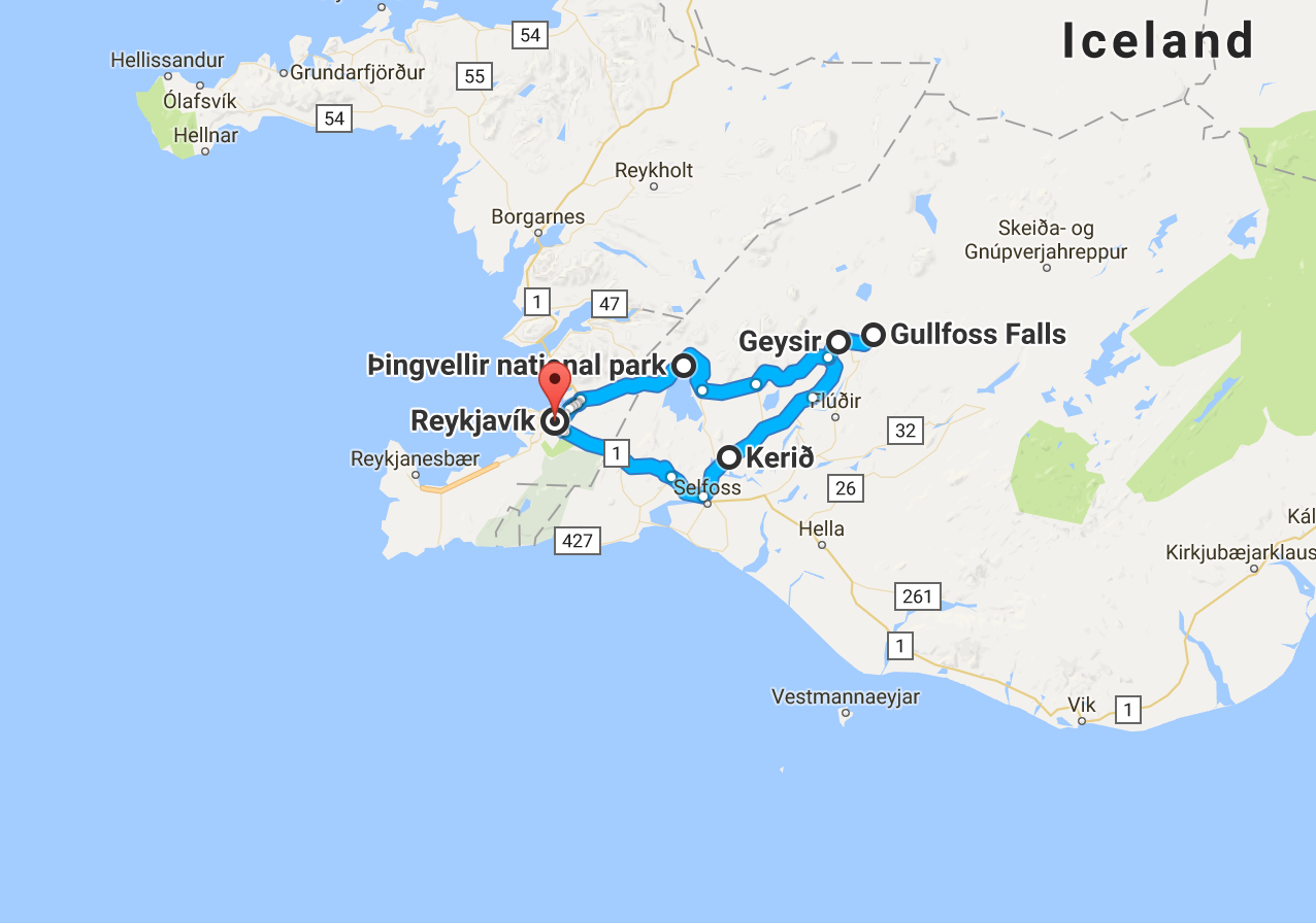 Iceland Day 2 Map