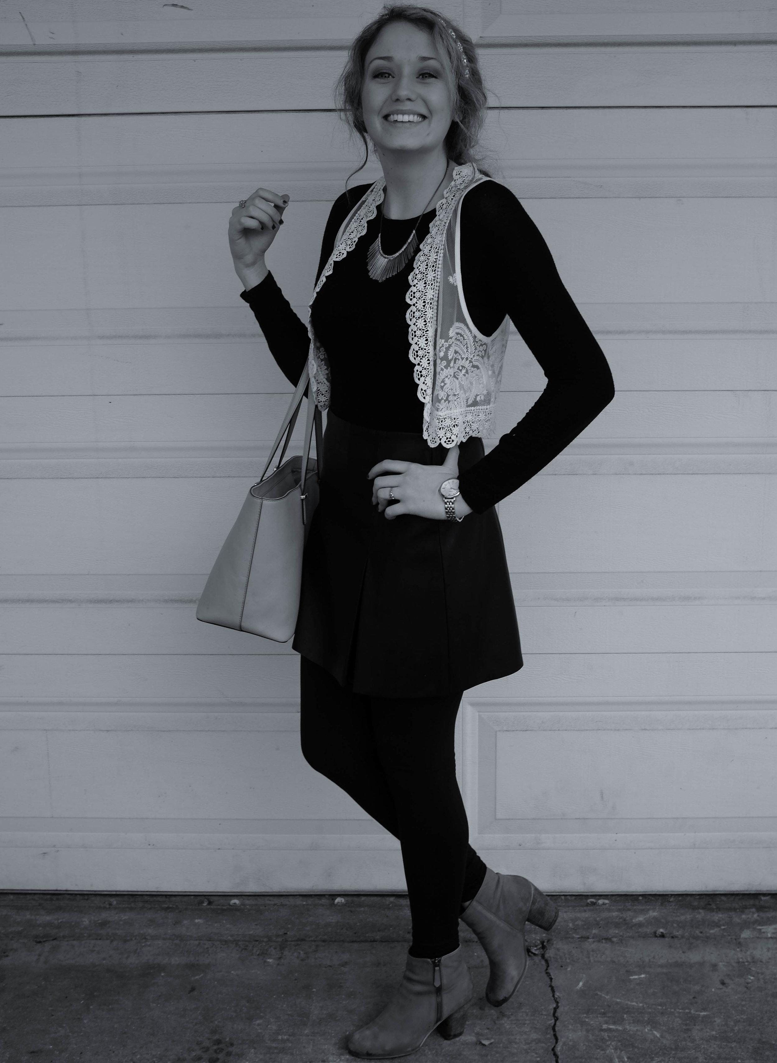 Leather Skirt & Lace Vest