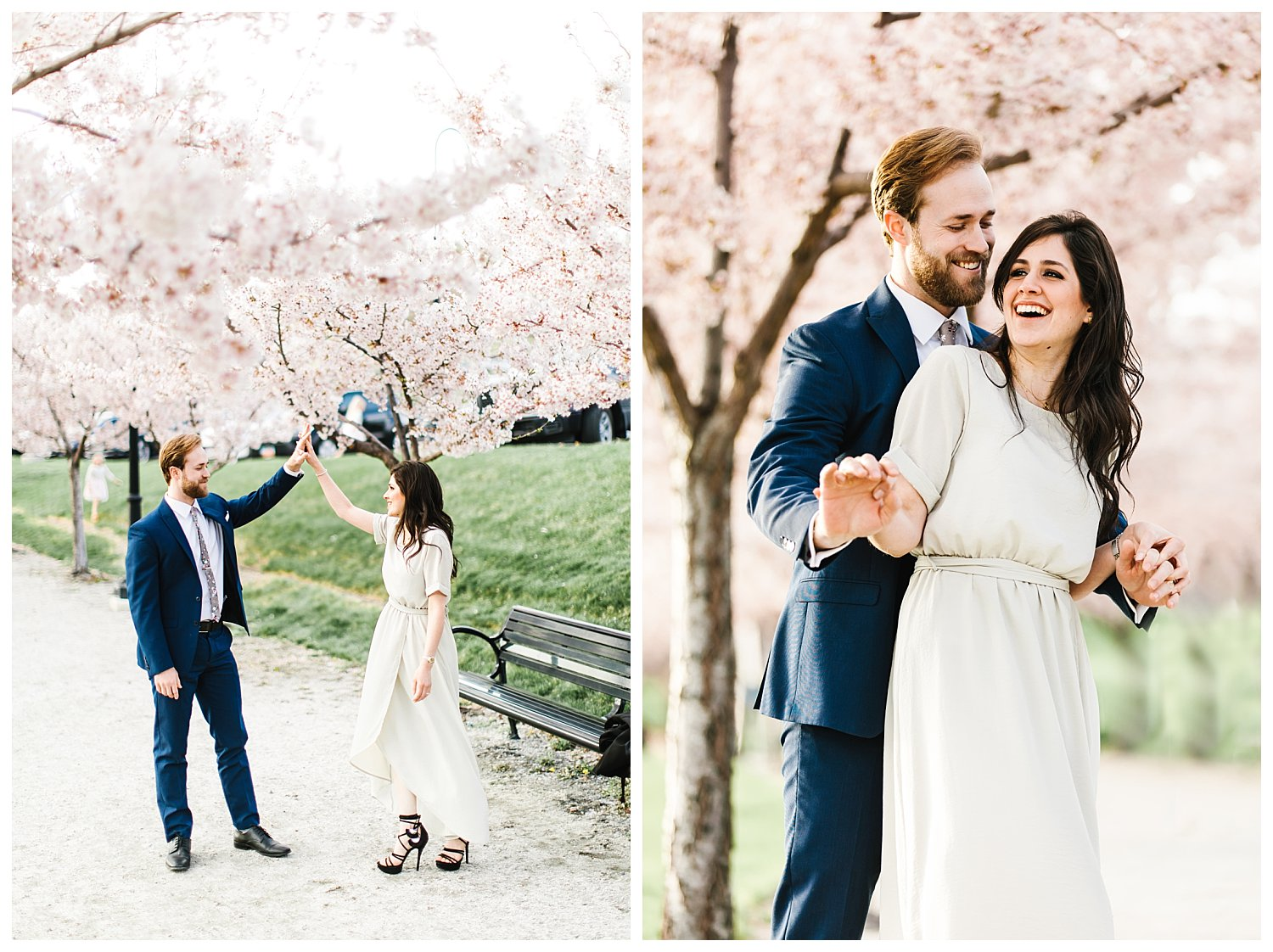Joyful and natural engagement session at the Utah State Capitol with all the blossoms | Utah Wedding Photographer | Rachel Lindsey Photography