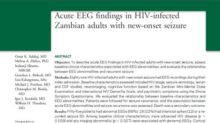 Acute EEG findings in HIV-infected Zambian adults with new-onset seizure.