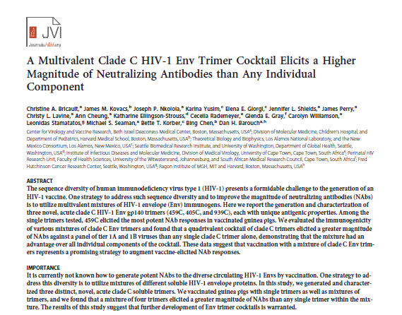 A Multivalent Clade C HIV-1 Env Trimer Cocktail Elicits a Higher Magnitude of Neutralizing Antibodies than Any Individual Component.
