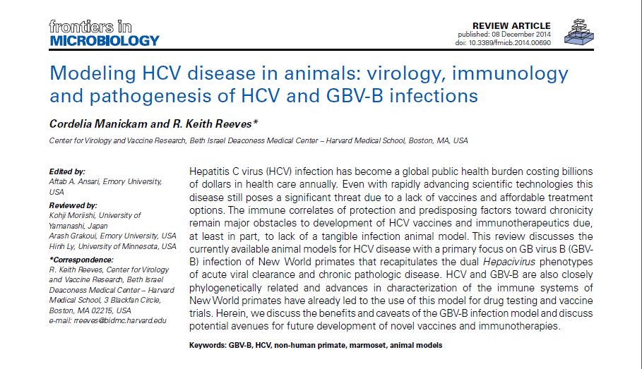 Modeling HCV disease in animals: virology, immunology and pathogenesis of HCV and GBV-B infections