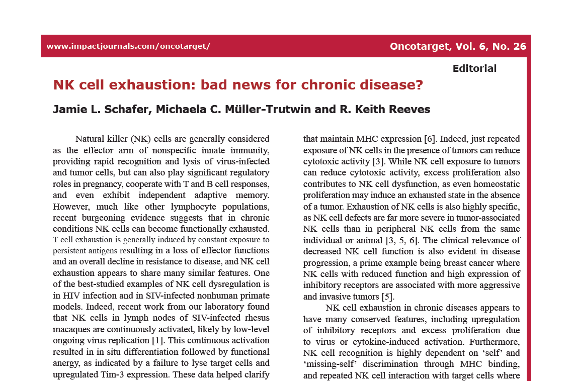 NK cell exhaustion: bad news for chronic disease?