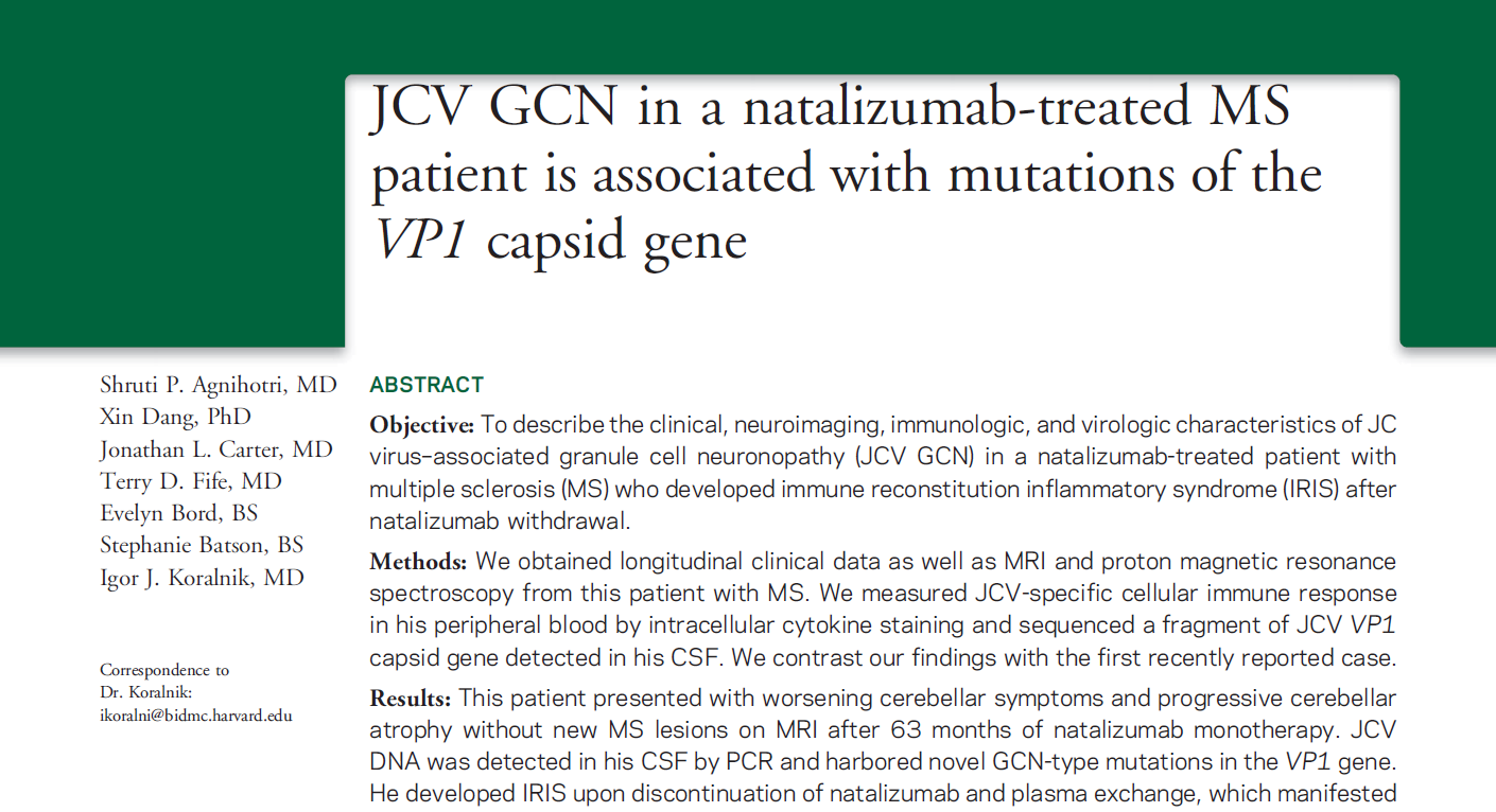 JCV GCN in a natalizumab-treated MS patient is associated with mutations of the VP1 capsid gene