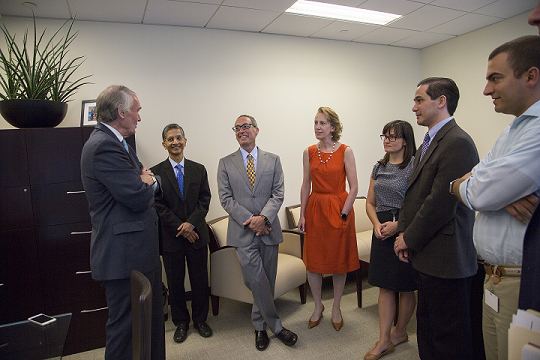 The lab team with Senator Markey, a proponent of government-funded Zika research.