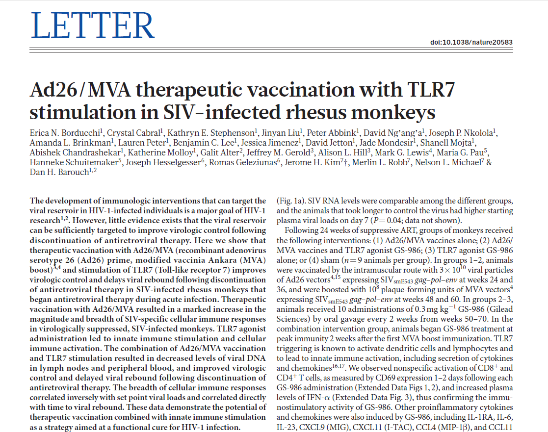 Ad26/MVA therapeutic vaccination with TLR7 stimulation in SIV-infected rhesus monkeys