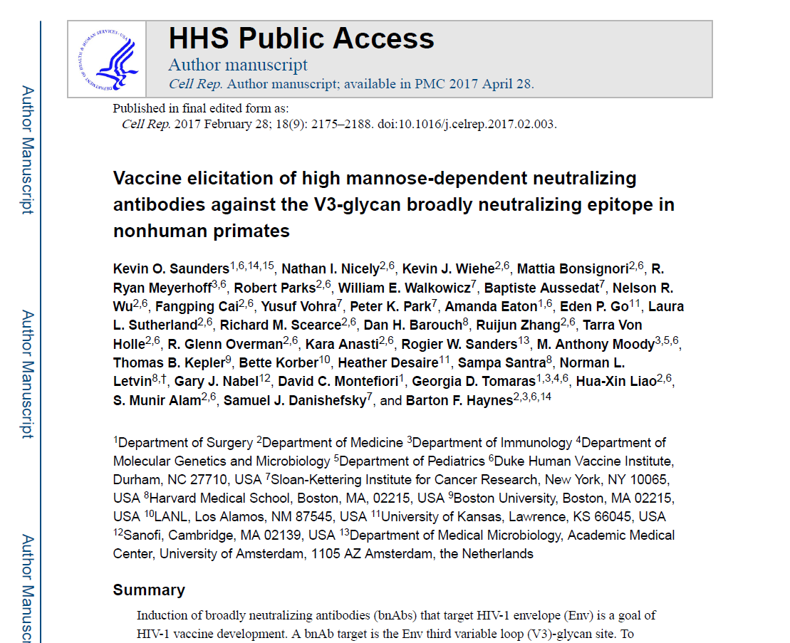 Vaccine elicitation of high mannose-dependent neutralizing antibodies against the V3-glycan broadly neutralizing epitope in nonhuman primates