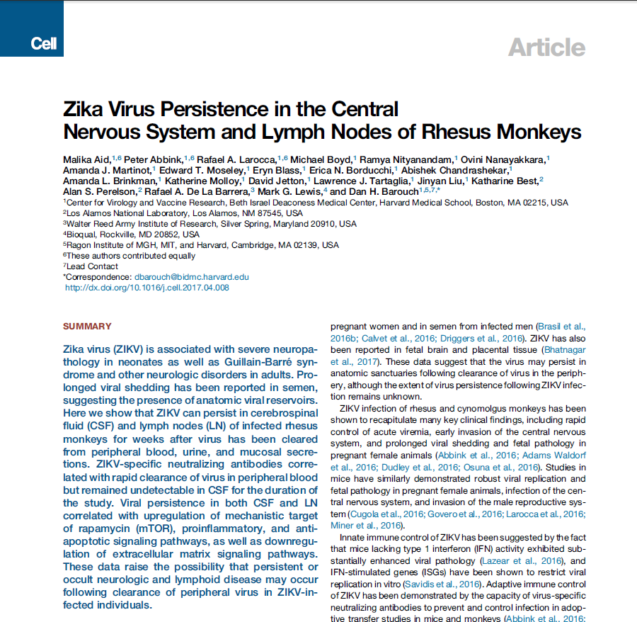 Zika Virus Persistence in the Central Nervous System and Lymph Nodes of Rhesus Monkeys