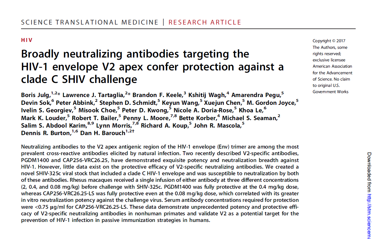 Broadly neutralizing antibodies targeting the HIV-1 envelope V2 apex confer protection against a clade C SHIV challenge