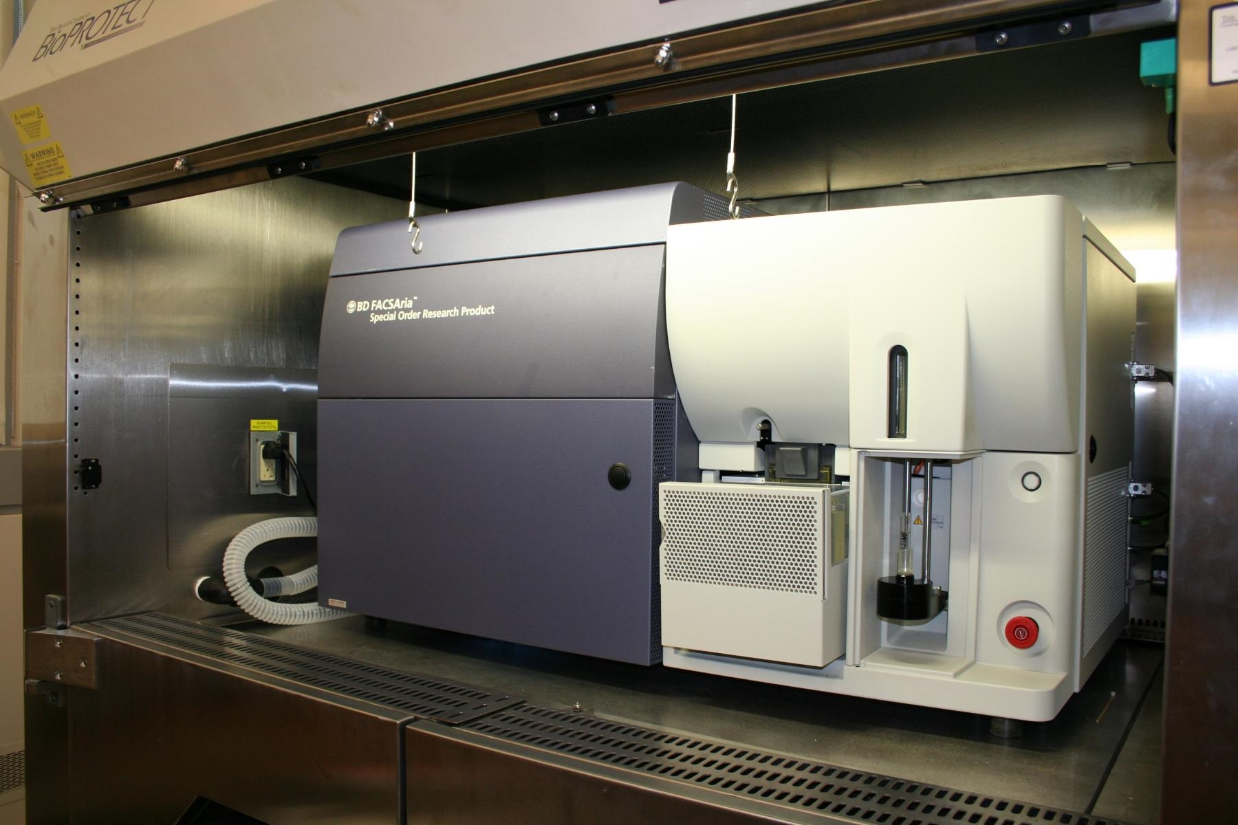 BD FACSAria II - COMS approved facility allows for sterile sorting of fixed and unfixed human, non-human primate, and other animal specimens for HCV and HIV/AIDS research. BD FACS Aria II cell sorter equipped within a Bioprotect IV LE biosafety cabinet operates with 4 solid state lasers: 405nm violet measuring up to 8 parameters, 488nm blue measuring up to 2 parameters in addition to FSC and SSC, 532nm green measuring up to 5 parameters, and a 628nm red measuring up to 3 parameters, allowing sorting panels of up to 18 fluorescent markers.