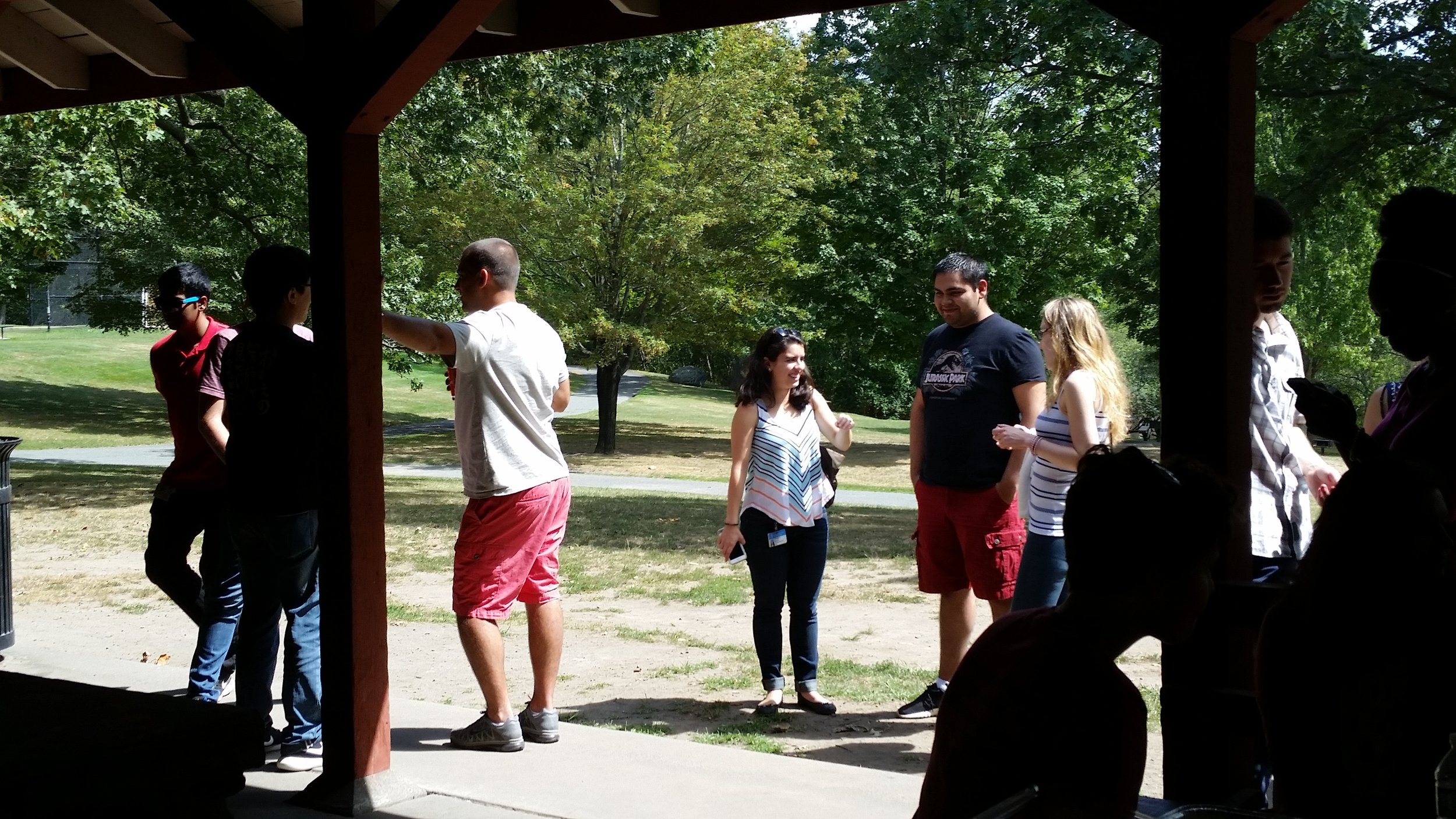Research Assistants catch up and enjoy time outside the lab!