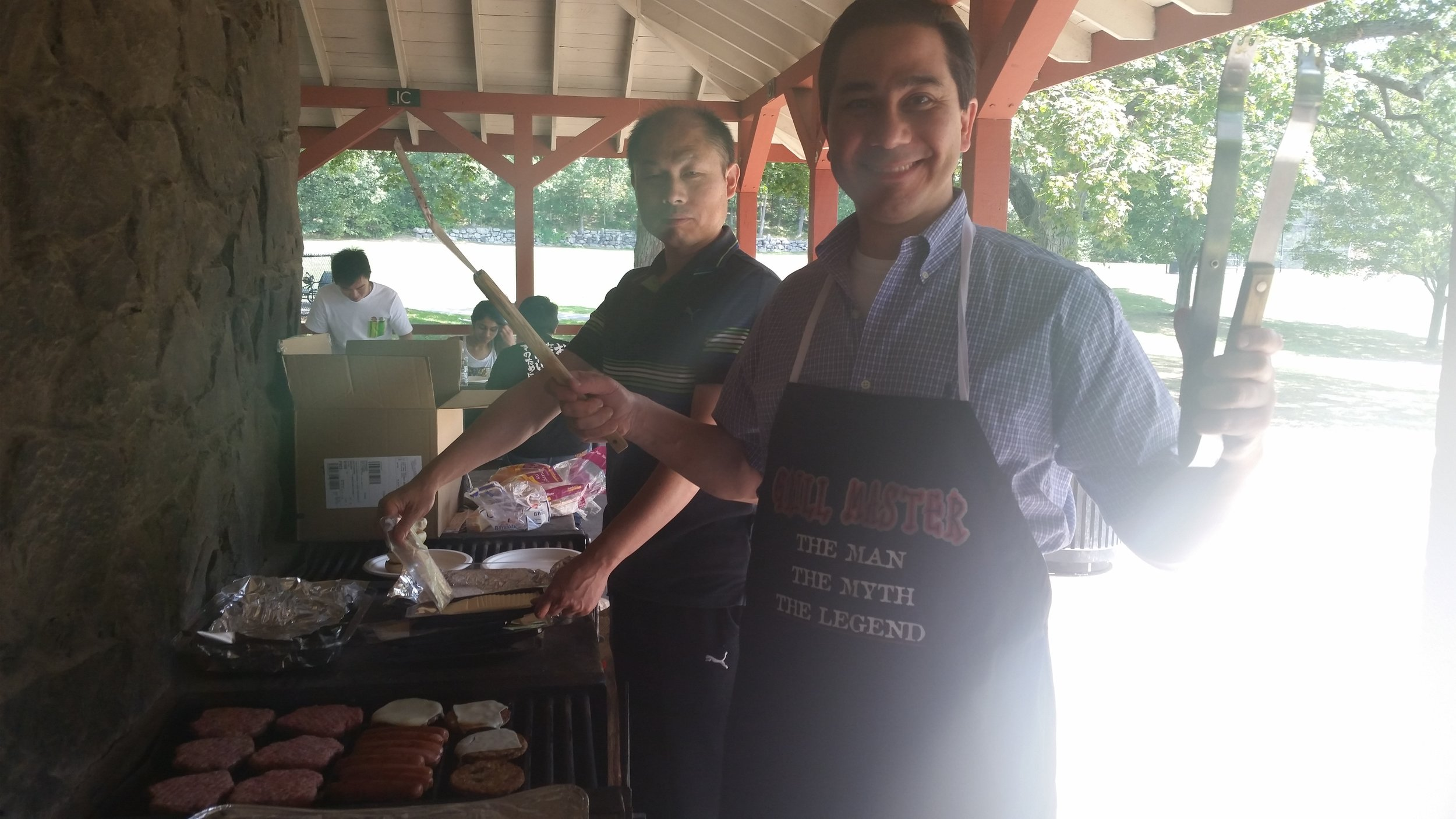 Dr. Barouch and Dr. Jinyan Liu man the grill!