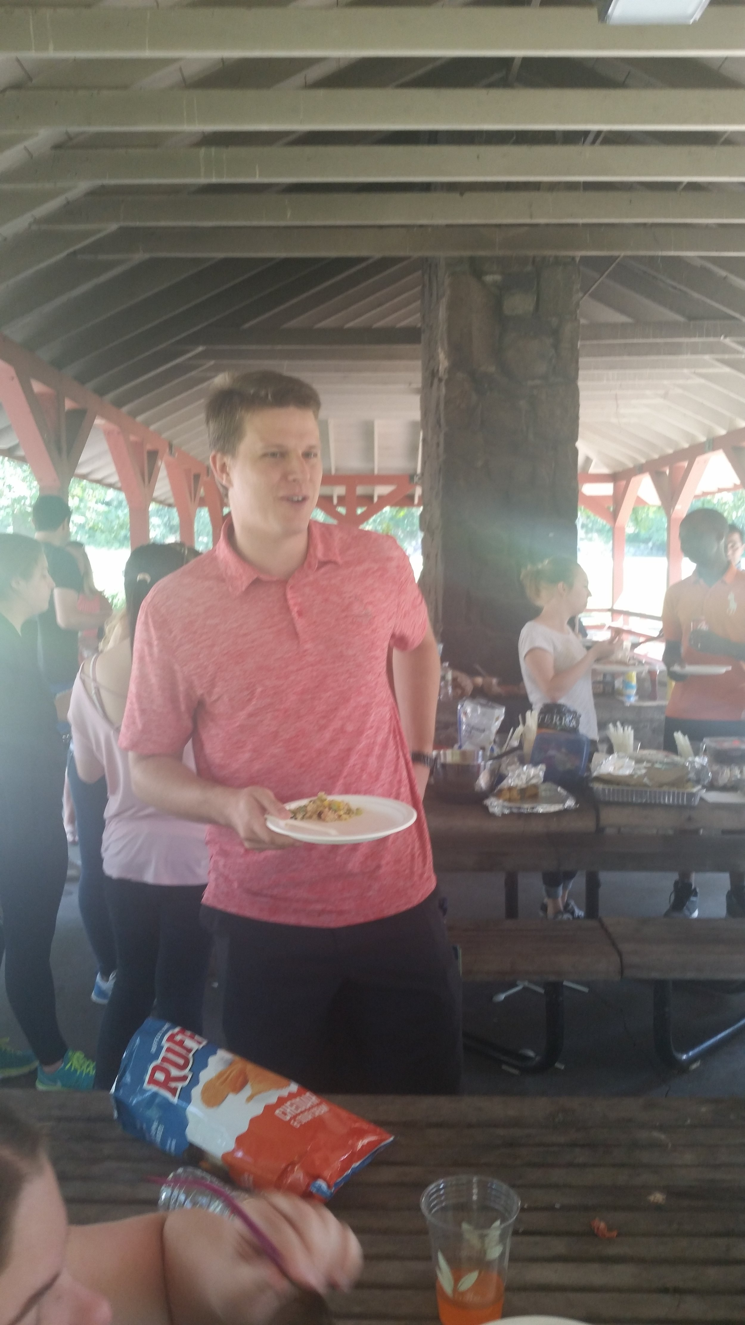 Research Assistant David Jetton gets his first plate, but certainly not his last!
