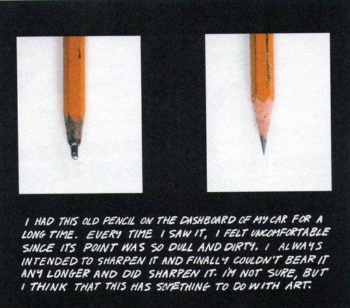John Baldessari's  The Pencil Story  (1972–3) represents transition