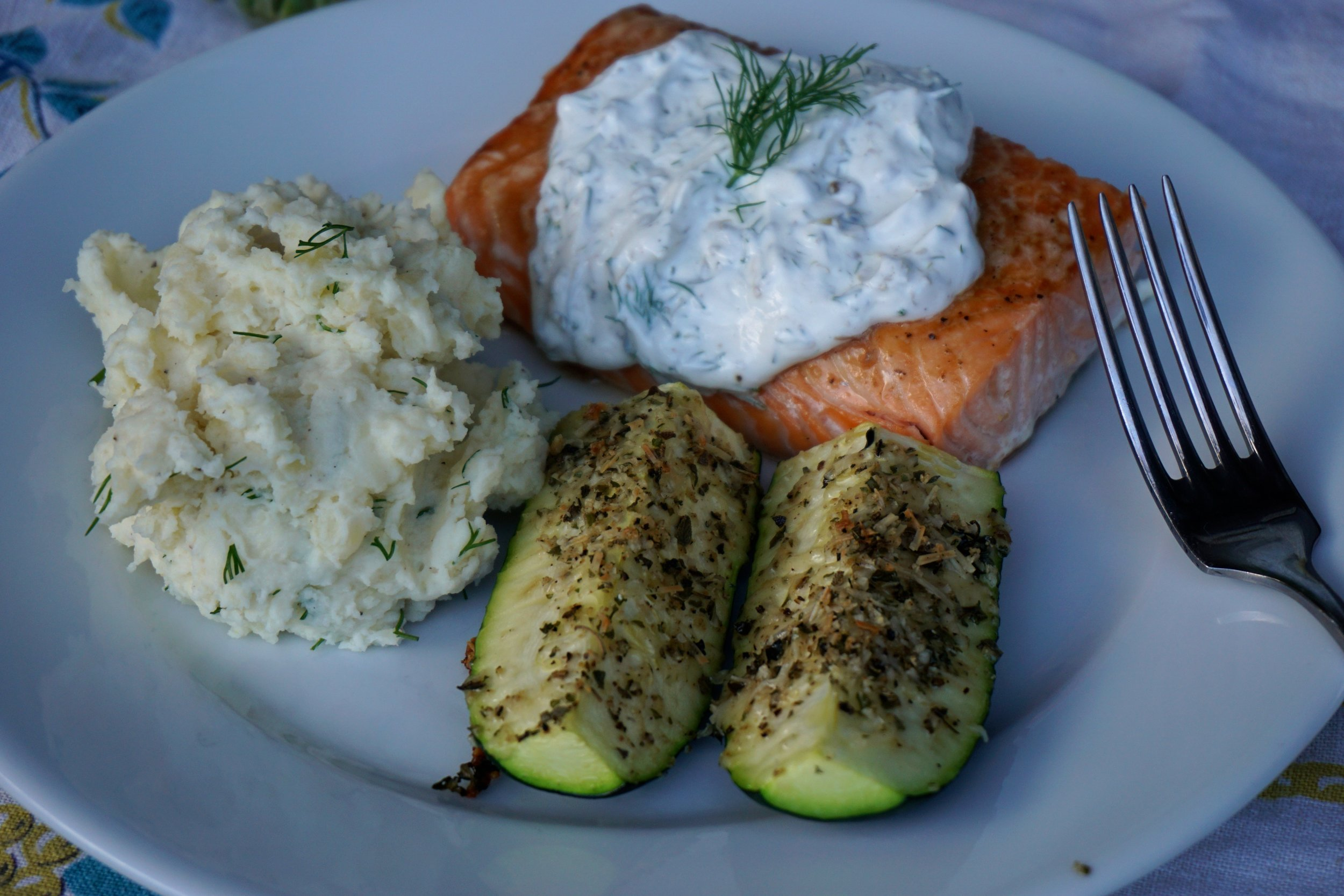 Dilled Mashed Potatoes, Herbed Parmesan Zucchini, and Salmon with Creamy Dill Sauce is ready to serve in just 45 minutes and uses just a few ingredients.