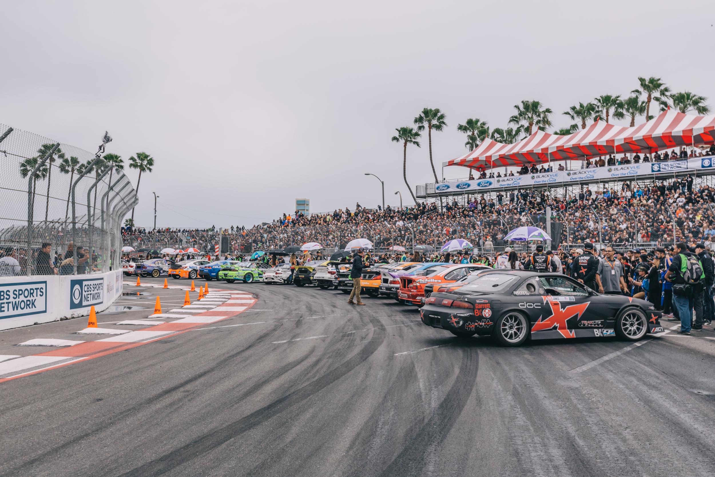 Formula Drift Long Beach Top 16 presentation on the streets of Long Beach, CA.