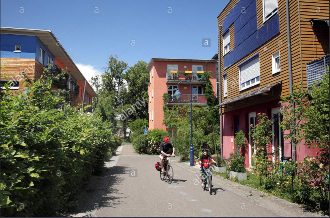 Vauban is a largely car-free suburb developed on the site of a former military base in Freiburg, Germany.