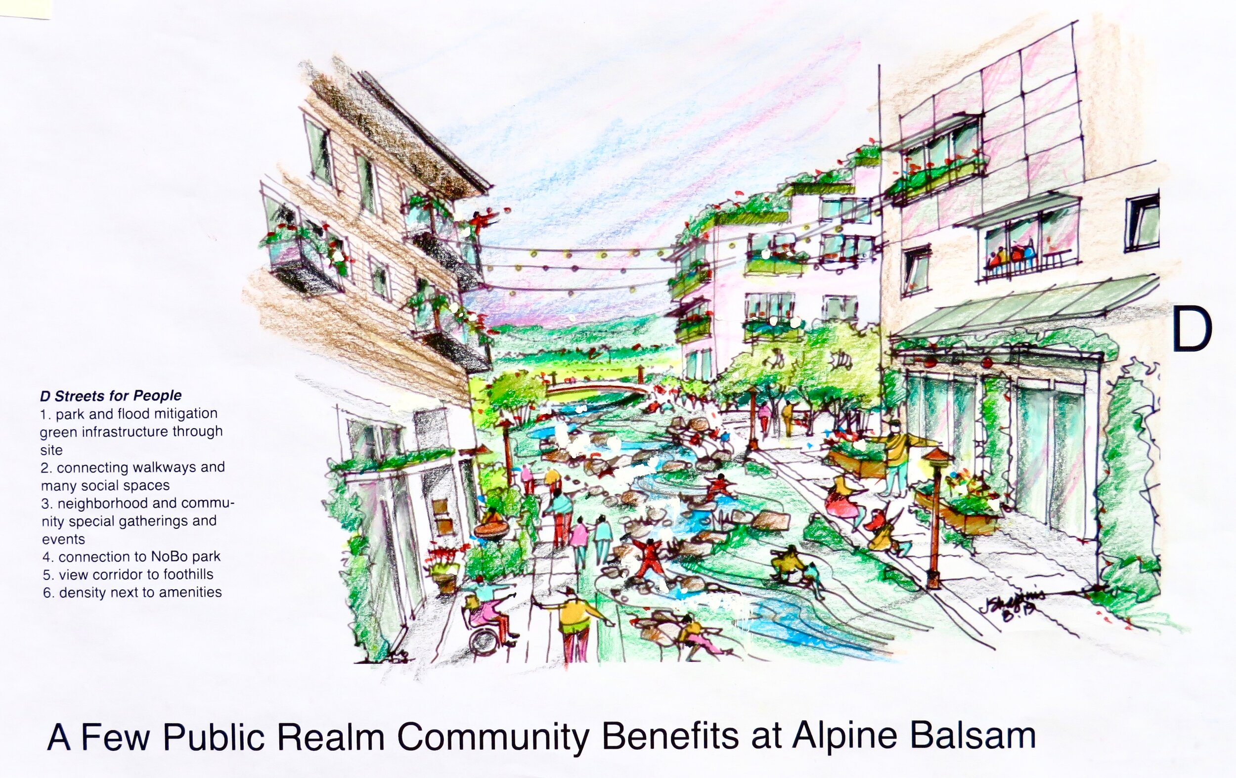 Thanks to Jerry Shapins for this lovely envisioning of the future at Alpine Balsam: A view of potential housing and public spaces looking west into North Boulder Park with all development less than the 55' Boulder height limit but that provides significant housing and a good return on taxpayers' investment. By offering compact, mostly for sale, permanently affordable housing to a broad spectrum of families and local workers who are now in-commuting, we could take cars off the roads while creating a vital, walkable Alpine Balsam area that current neighbors can enjoy too.
