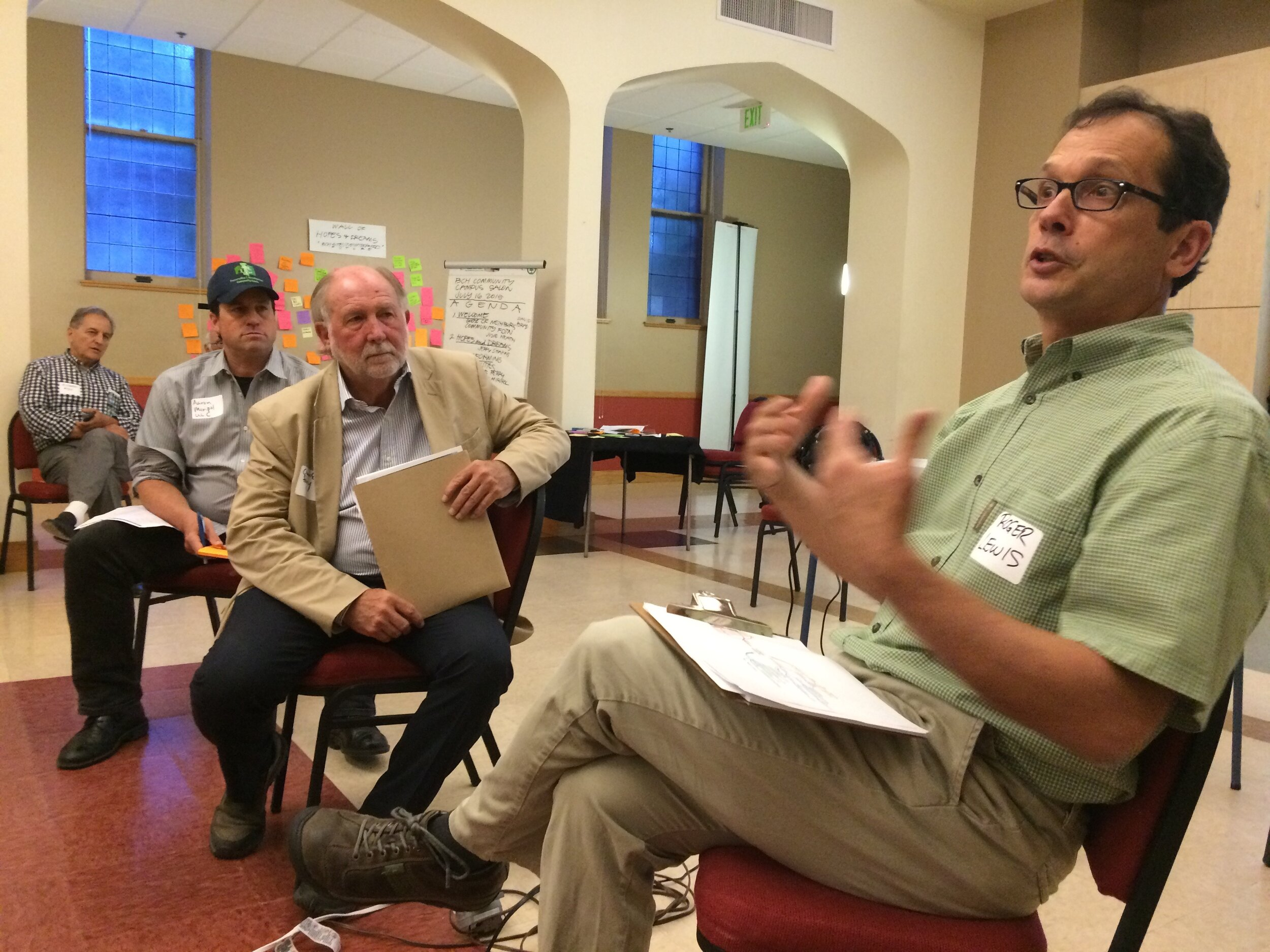 Roger Lewis  on right with developer Chuck Perry of Perry-Rose and Aaron Miripol of the Urban Land Conservancy, a Denver-based community Land Trust at 2015 Public Seminar on Transformative Development.  Roger Lewis is a key strategic advisor. He is a former employee, Thistle Community Housing and director National Community Land Trust Network.