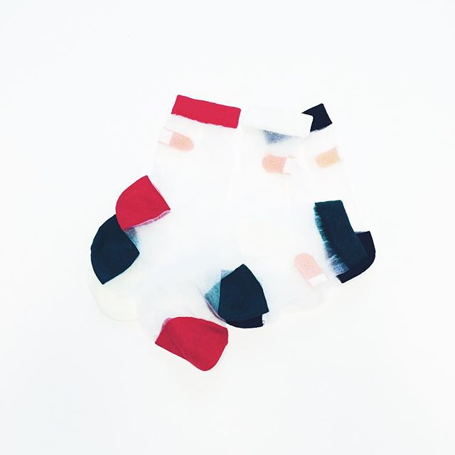 Does this look kinda like abstract art or just four sheer Bandaid Socks? #popsockshop