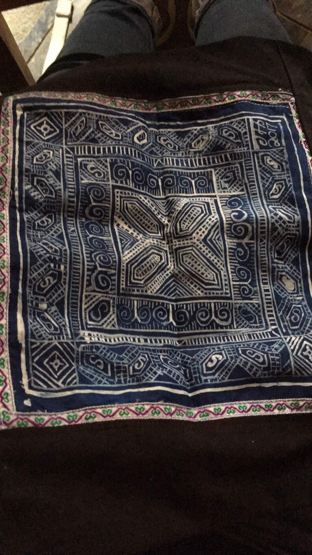 It was dyed in Indigo overnight, then washed and sewn into a pillow
