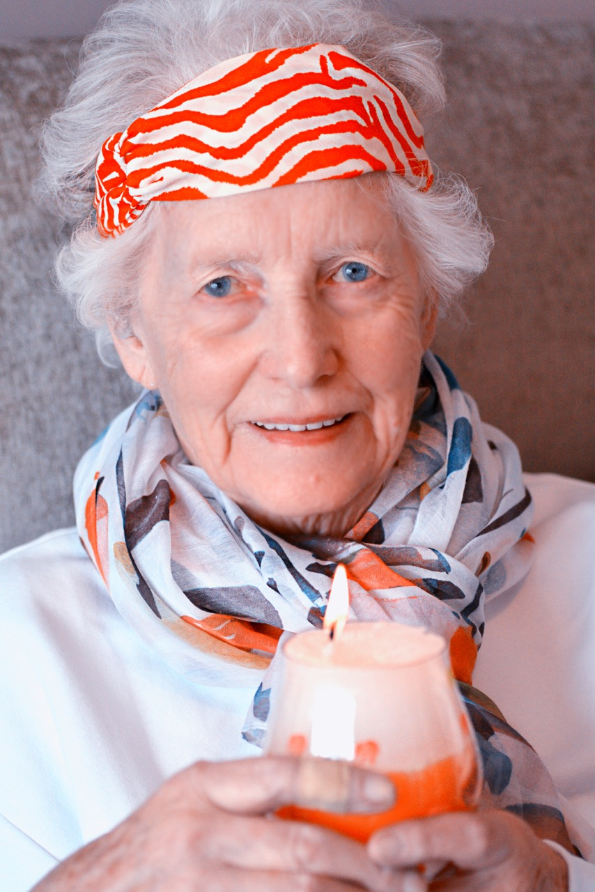 Rebecca's Great-aunt (Teresa and Miriam's mother) Pearl Hynes in her orange best