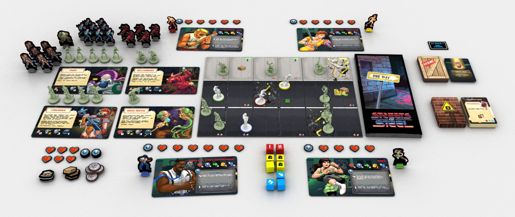 This is an image of the pre-release, Kickstarter preview game. Elements may change in final production run.