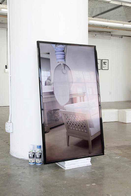 Luscious Creams, 2015, HD video, monitor, magazines, Muscle Milk, installation Art, MFA, '15. The 2015 CalArts MFA Show, Cooper Design Space, Los Angeles
