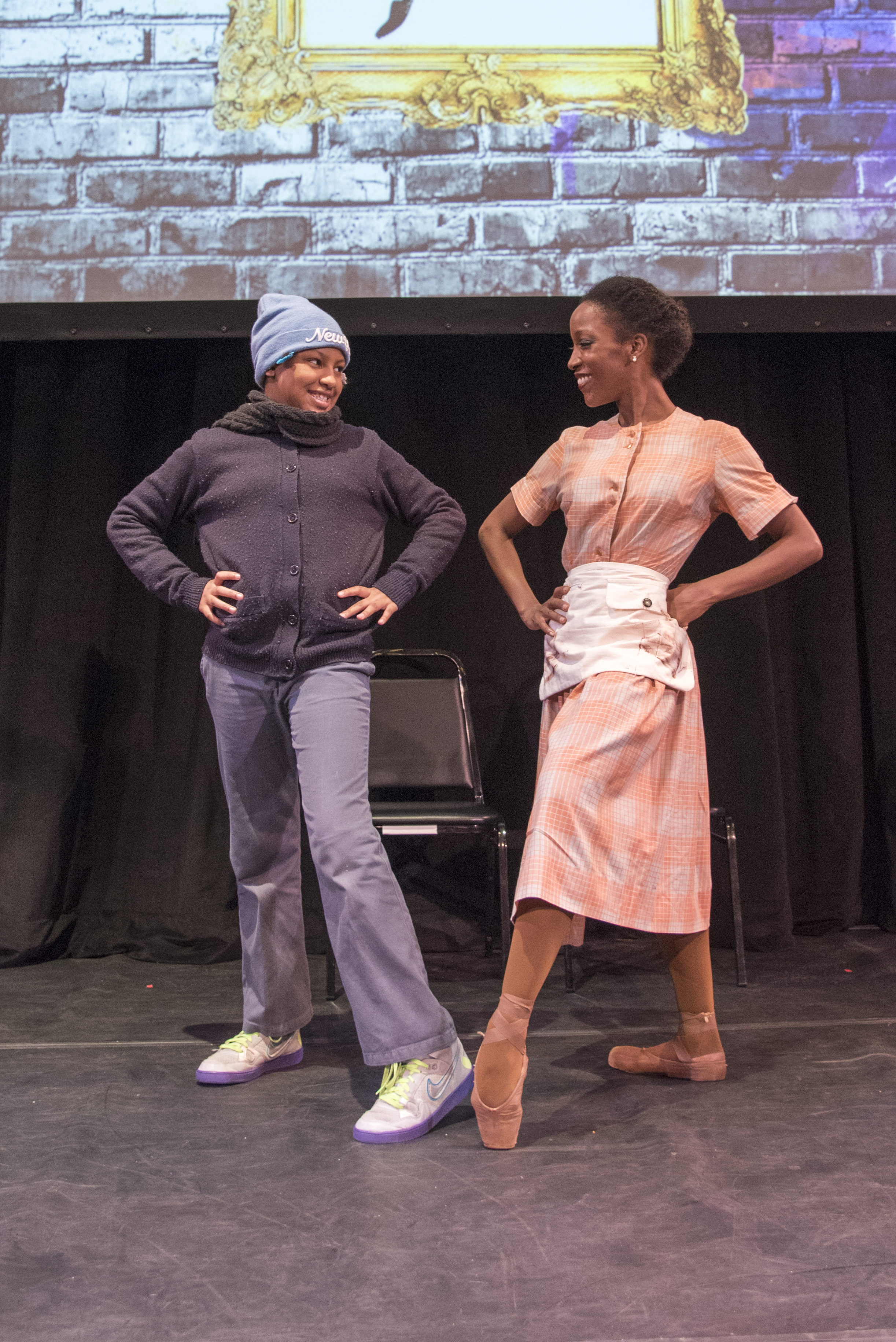 The Black Iris Project dancer Paunika Jones gets to the dance point with P.S. 189 student Gabrielle Samuels.