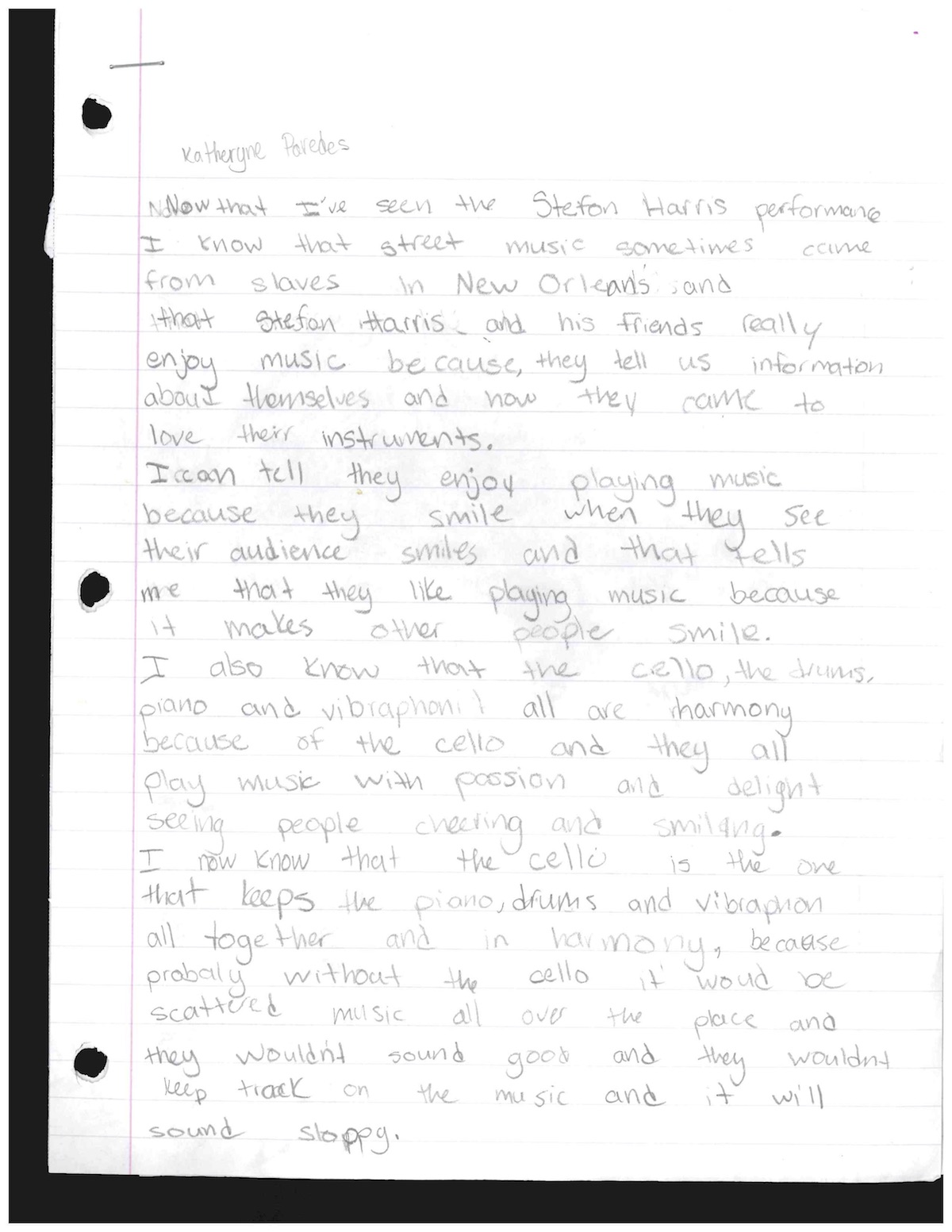 Katheryne Paredes - 4th grade - PS 49 Bronx, Ms. Goldfine, essay