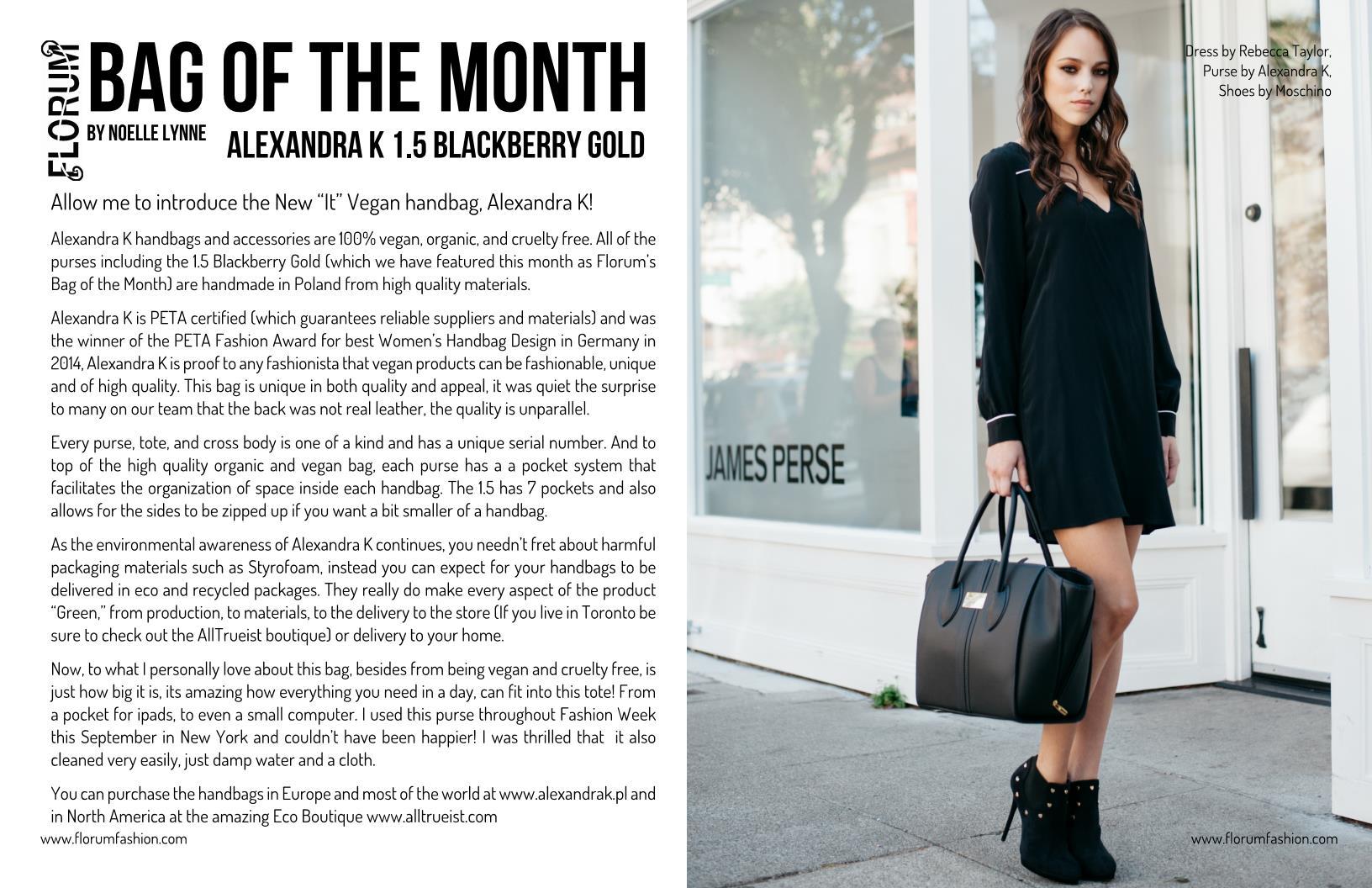 Noelle Lynne Florum fashion magazine Bag of the month Alexandra K vegan purse Cate Chant Ethical Handbag