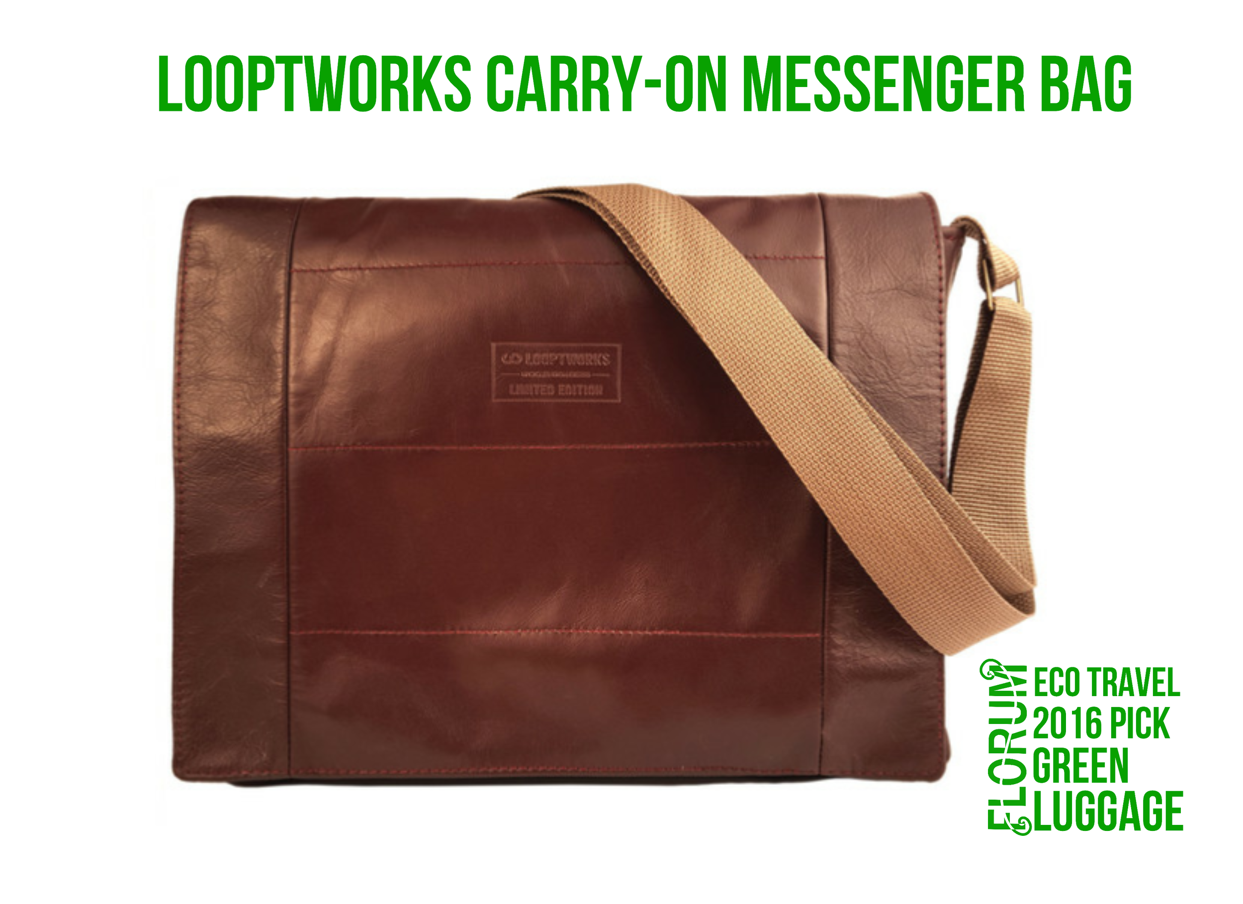 Florum Eco Travel 2016 Ethical Luggage Pick - LooptWorks Alaska Airlines Carryon Messenger - Noelle Lynne