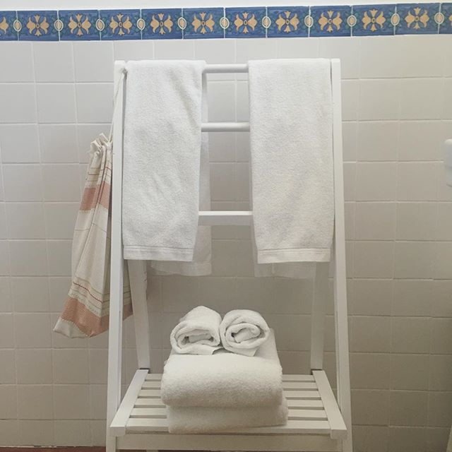 One way to help #SaveTheEnviroment is by reusing your towels. We keep it simple at #CasaDoMercadoLisboa A towel on the floor we wash.... A towel hanging up means you'll reuse it...