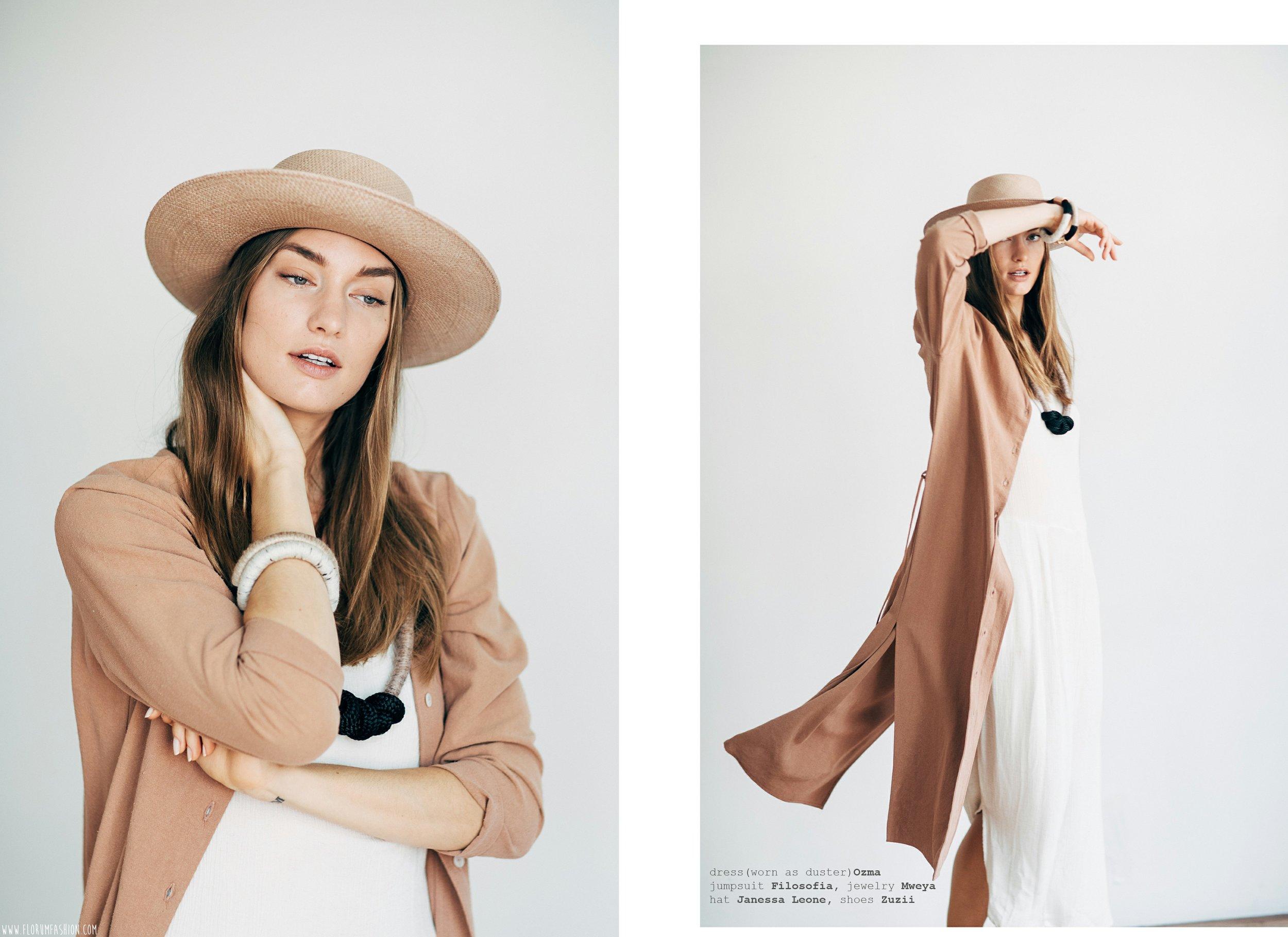 dress (worn as duster)  OZMA  jumpsuit  FILOSOFIA   oxford  ZUZII    jewelry    MWEYA    hat  JANESSA LEONE
