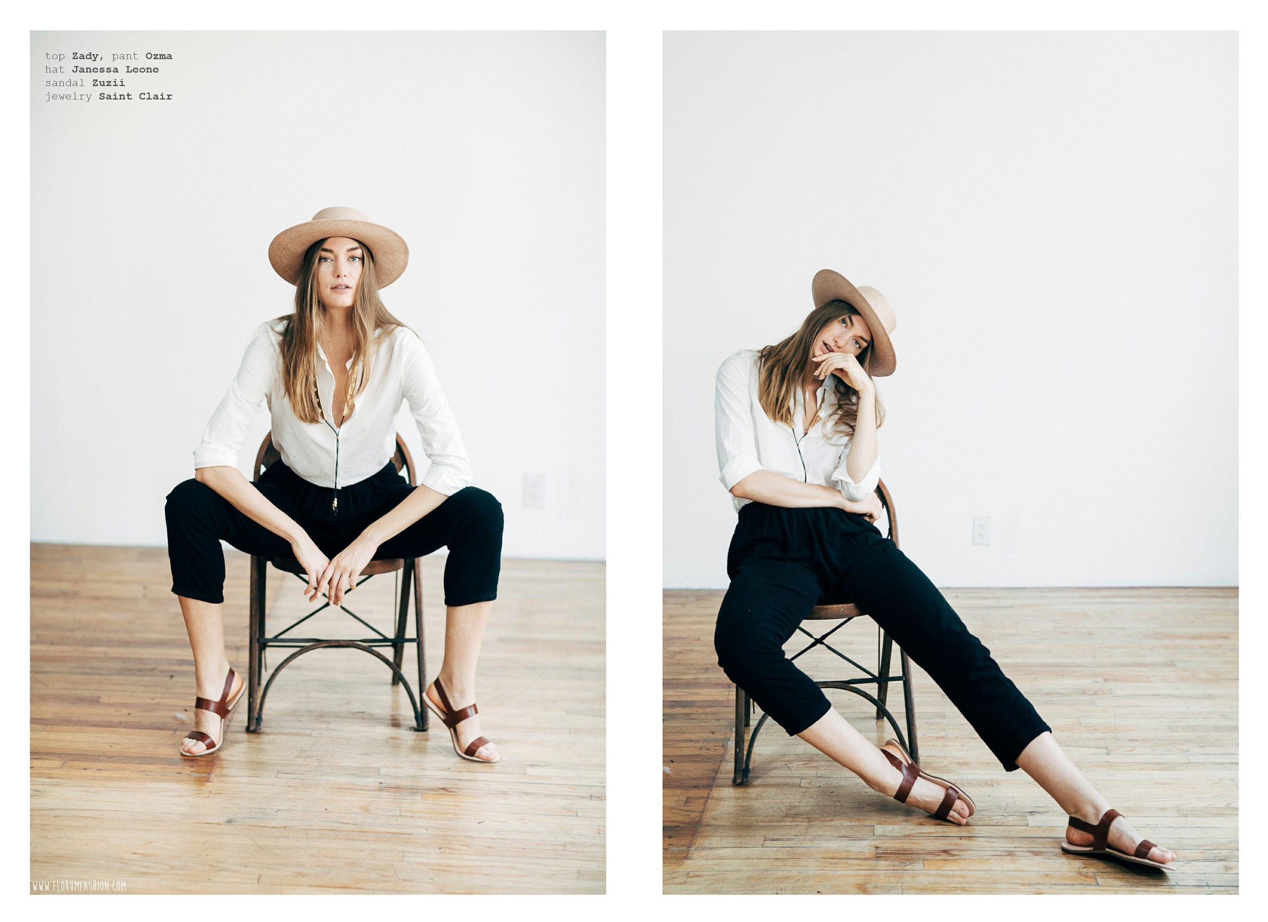 top  ZADY    pants  OZMA    hat  JANESSA LEONE    sandal  ZUZII   necklace   SAINT CLAIR