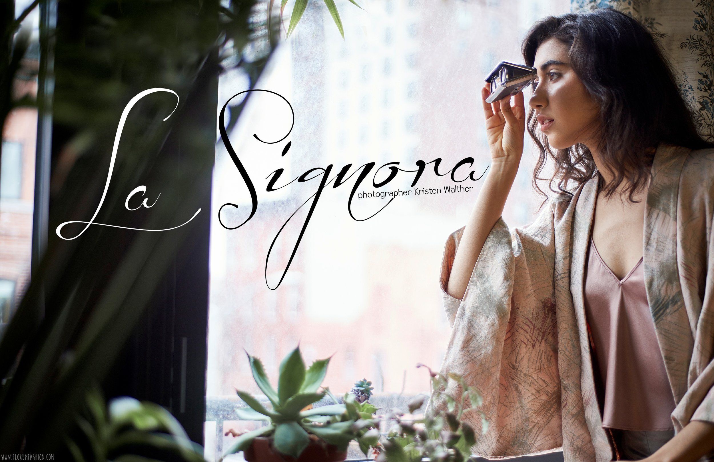 La Signora Kristen Walther wardrobe stylist Kallie Anne Youssera Belhachmi of Surface Model Management Florum Fashion Magazine  Makeup Habiba Elshazly  Hair Michael Glorioso Crossroads Trading