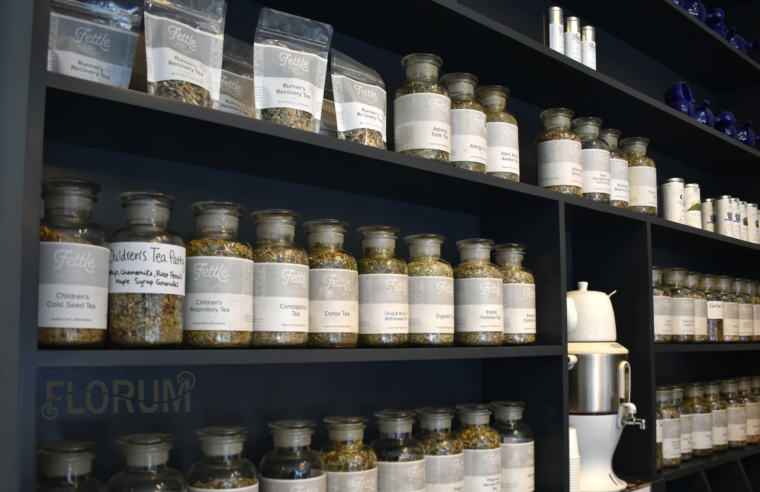 If you love teas, you'll find that Fettle Botanic Supply & Counsel has every type that you can imagine. Many are premade blends however if you are looking for something specific, you can consult a friendly herbal assistant.