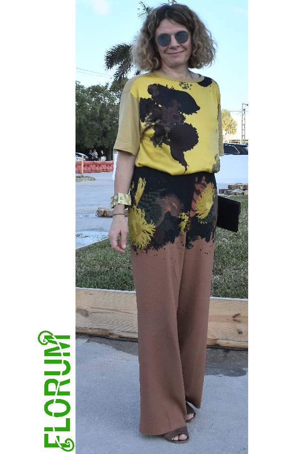 A splash of yellow with coordinating prints spotted on Luba Michailova