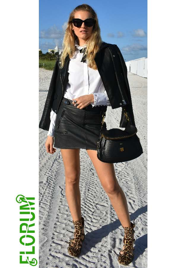 Black and white with a hint of leopard spotted on Kristina Tsirekidze