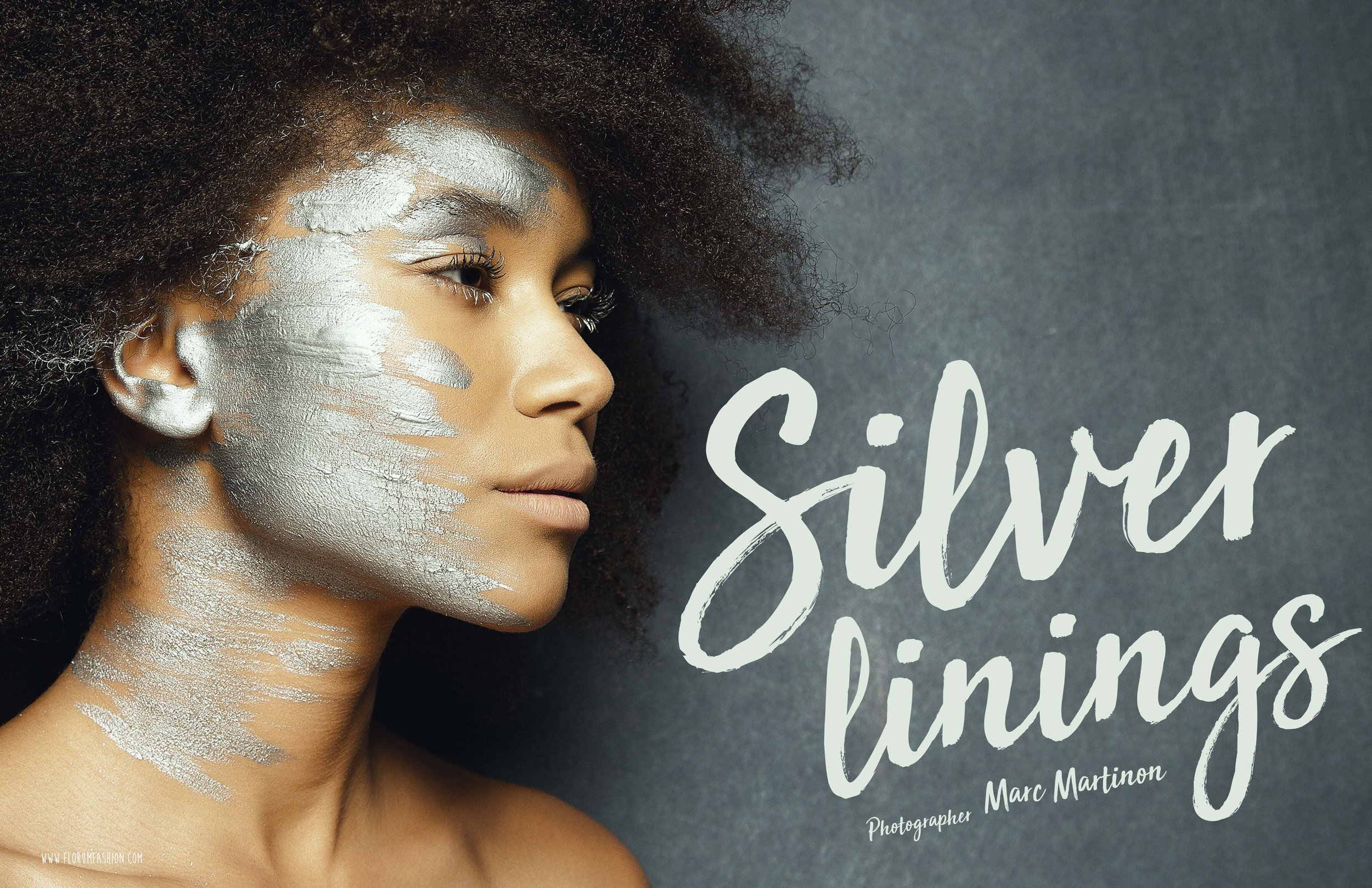 Silver lining - florum fashion submission magazine New Years editorial -Marc martinon - LAURE B of Enjoy Models - makeup artist Julie Mandin - Green - eco webitorial silver beauty editorial
