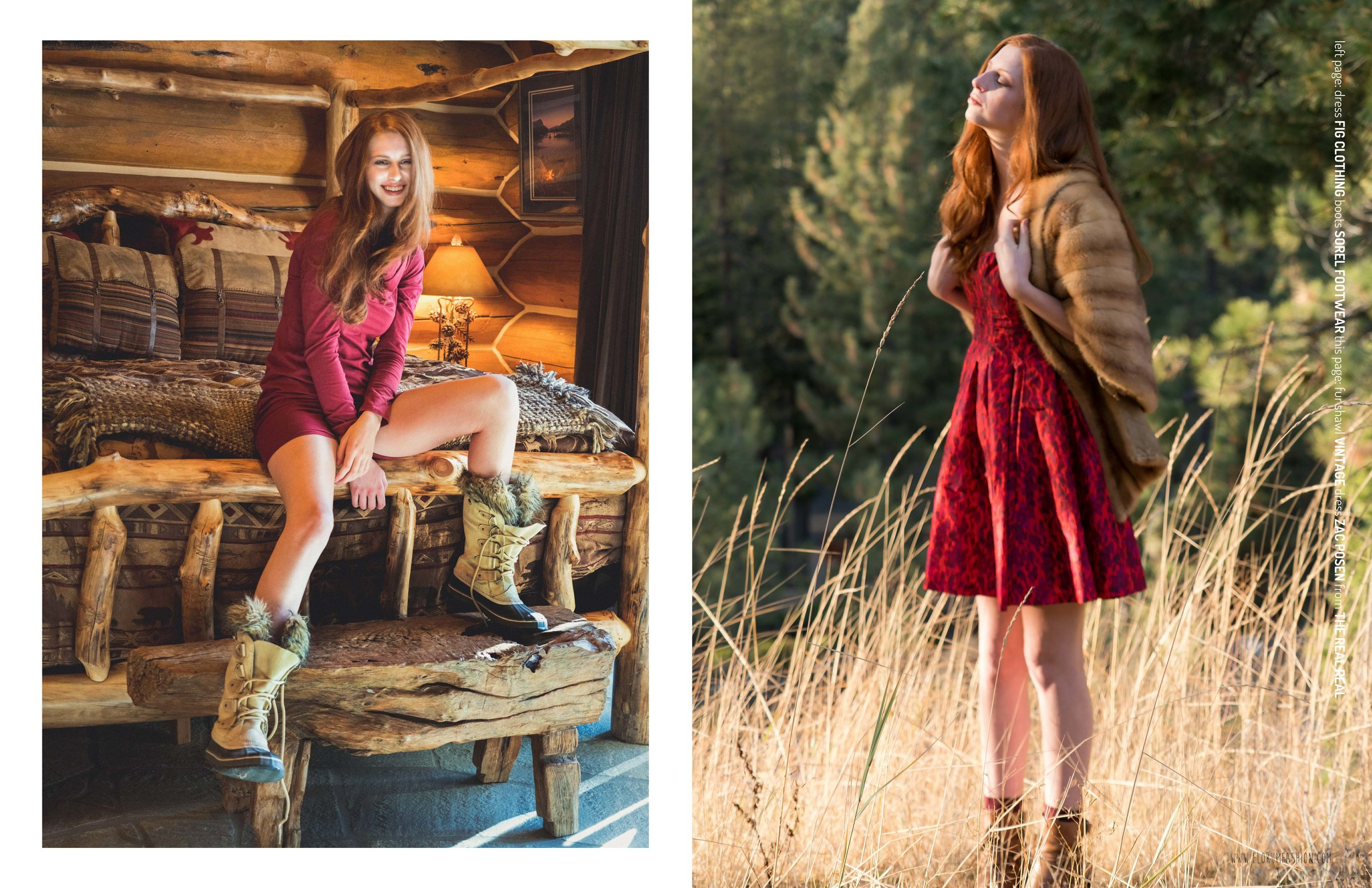 florum fashion magazine Cabin Fever by Joy Strotz - makeup by Rosa Mercedes Tunnel CReek Lodge - eco wardrobe stylist Noelle Lynne - cast images - synergy organics - fig clothing - ankedot organics - natural sustainable cozy comfortable snow look vintage fur