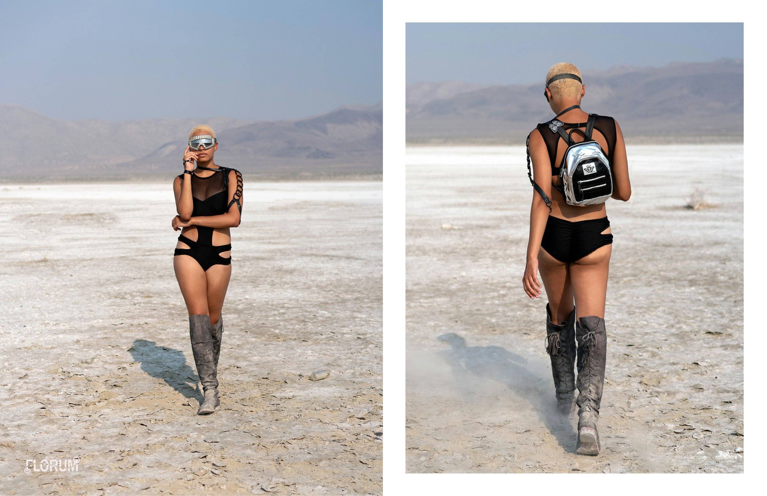 vegan festival hydration pack  black tar mini   DAN PAK  $40  shop here       made in california    armored glory goggles  CHLOES CURIOUS  $138  shop here       upcycled made in usa   body jewelry   BEATRICE HOLIDAY    contact for price    shop here       made in usa    black strappy cutout bodysuit     I HEART RAVES  $35  shop here