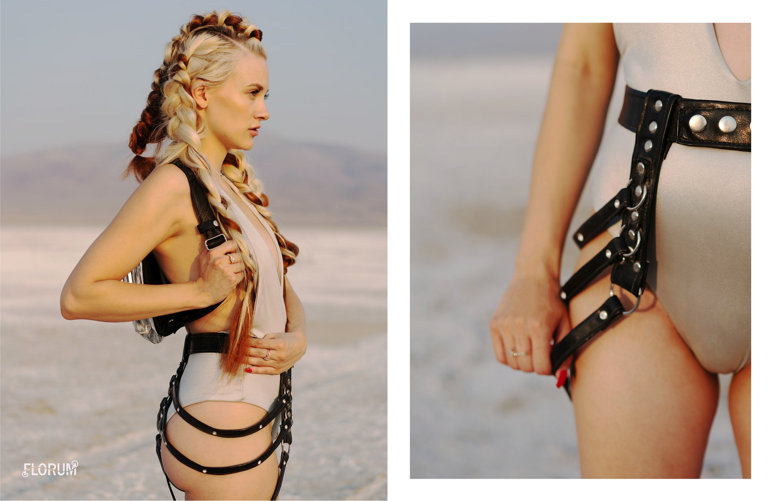 Playa Style Guide for burning man fashion -Florum Fashion Magazine creative director Noelle Lynne - photographed by Joy Strotz - braids and makeup by Rosa Mercedes ethical - sustainable The Glow Strobe - LIdo Bikini - Kylee Morris