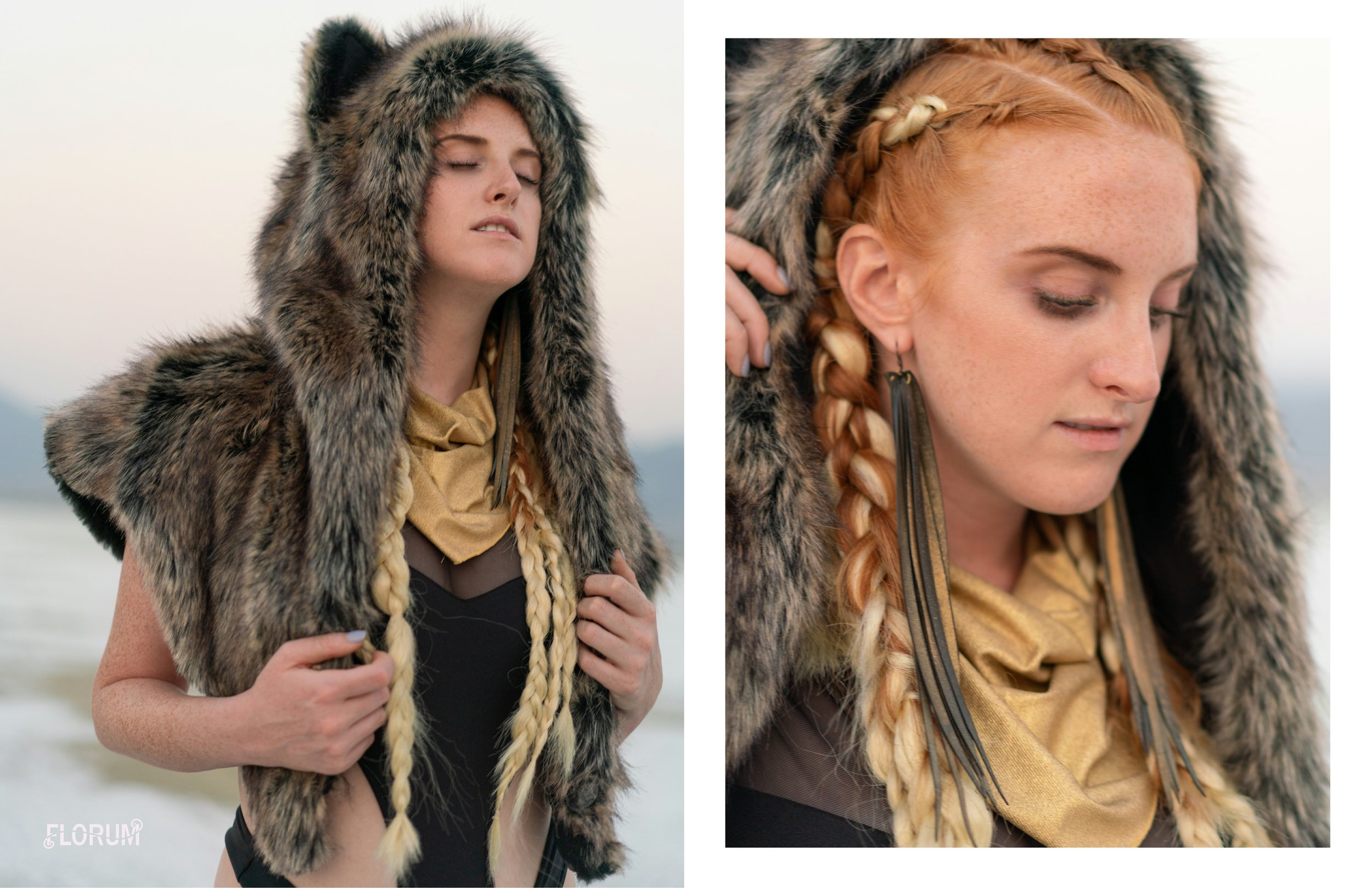 One of my favorite festival brands that I have bought and worn over the years is Spirithoods. Not only do they help bring out your inner animal, however the brand donates back 10% of its net profits to the conservation of endangered animals. Their hoods are all handmade in Los Angeles with faux fur and are designed to last a lifetime. Recently I have loved the new styles and designs that Spirithoods has created to bring out the inner animal in all of us.     ethically made in los angeles  direwolf shawl spirithood     SPIRITHOOD   $149   shop here      repurposed bicycle inner tubes  vegan feather disco earrings  BEATRICE HOLIDAY  $42  shop here       made in usa    black strappy cutout bodysuit     I HEART RAVES  $35  shop here