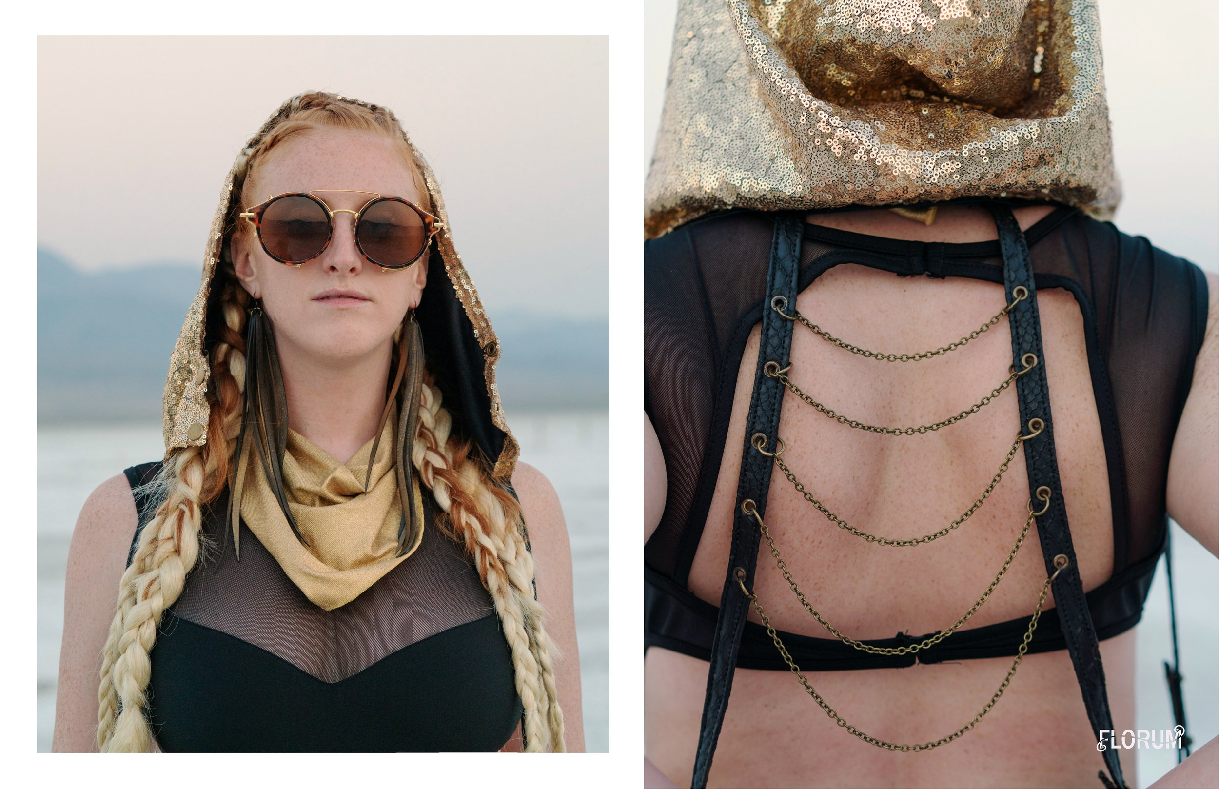 made in usa    black strappy cutout bodysuit     I HEART RAVES  $35  shop here      repurposed bicycle inner tubes  vegan feather disco earrings  BEATRICE HOLIDAY  $42  shop here       designed in brooklyn, made in bali sequin hood and leather holster   ORNATE REVERIE  $180  shop here